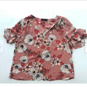 Ivanka Trump pink floral v-neck blouse